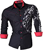 Jeansian Herren Freizeit Hemden Lion Tattoo Printing Long Sleeves Slim Fit Dress Men Shirts Tops Z030 Black XXL [Apparel]