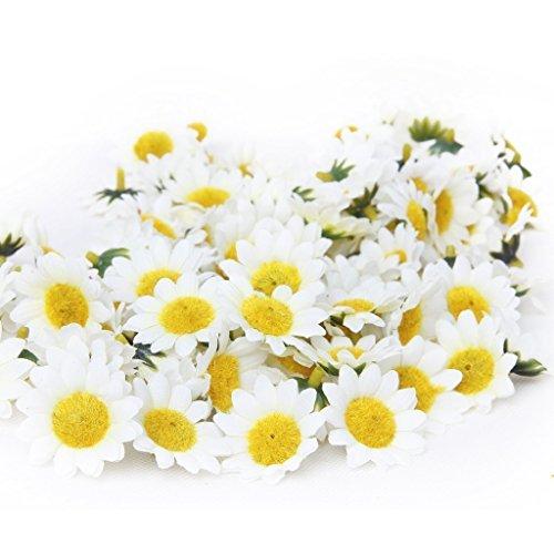 TININNA 100 Stück Klein Mini Künstliche Gerbera Blumen Köpfe Sonnenblume Gänseblümchen für DIY Hochzeit