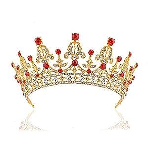 ROSENICE Diadem Hochzeit Krone Braut Stirnbänder Braut Strass Haarreifen Brautjungfern Braut Kopfschmuck(Golden)