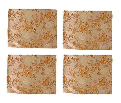Set von 4 Tischsets Bamboo & Plum Blossom Satin Brocade Mats -