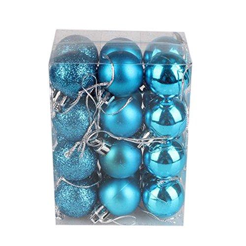 AMUSTER 24 Weihnachtskugeln Baumschmuck Weihnachten Deko Anhänger modisch Glänzend Bruchsiche Weihnachtskugeln Winter Wünsche Weihnachten Verschiedene Farben (Hellblau)