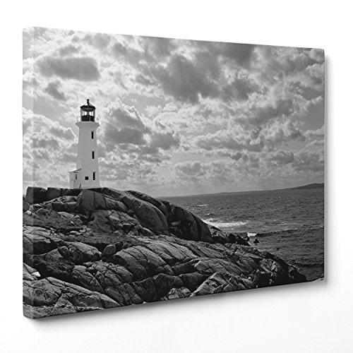 Bild auf Leinwand Canvas-Gerahmt-fertig zum Aufhängen-Ansel Adams-Fotografie Weiß und Schwarz-Meer Felsen Leuchtturm Dimensione: 100x152cm A - Senza Cornice -