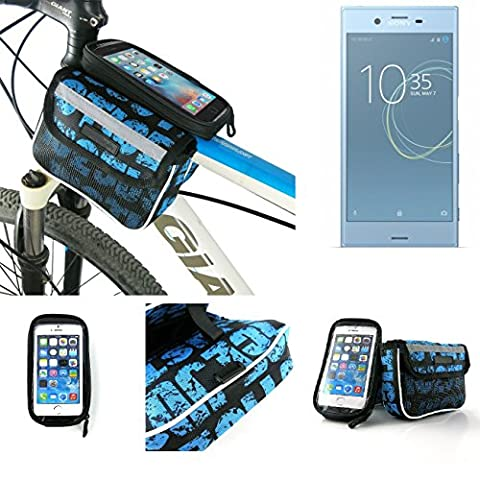 Bike frame bag Front Top Tube Pannier for Sony Xperia XZs Dual SIM, Head Tube cycling triple case Bicycle mount cradle Mobile Phone Holder, blue, water resistant -