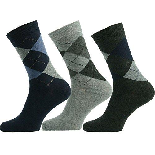 Herrensocken Baumwolle Business Herren Strümpfe Socken Schwarz Neu Bayram® 3 Paar Grösse 43-46 (Herren-socken Drei)