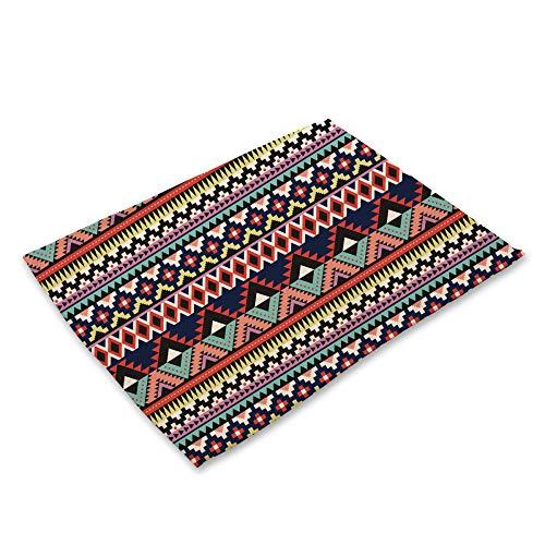 ZCHPDD Farbe Abstrakte Geometrische Druck Baumwolle Und Leinen Westlichen Tischset Geschirr I 42 * 32Cm * 4Pcs