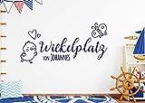 tjapalo s-pkm351 Wandtattoo Babyzimmer Junge name Wandtattoo Wickelplatz von mit Namen (B58 x H27 cm)