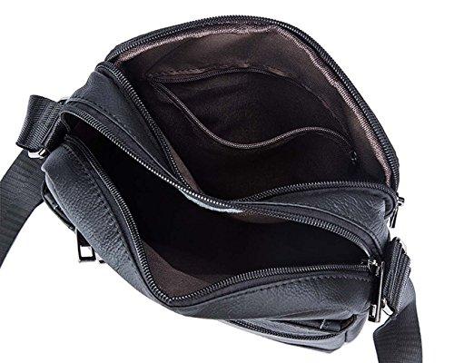 Uomo Pelle Borsa tracolla Messenger Bag Business casual stile Coffee