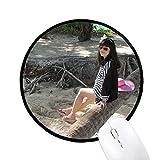 Beach Coconut Ellie Yao Sea Pink Hat Rund rutschfeste Mousepads schwarz titched Kanten Spiel Büro Geschenk