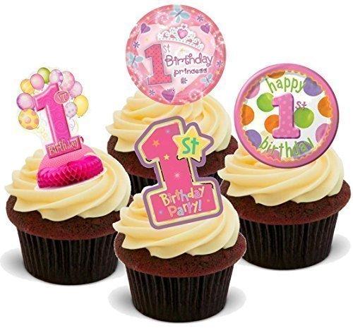 Premier anniversaire de fille Rose en forme de cupcakes comestibles en support de 12 décorations de gâteaux en Papier de riz comestible pour gâteaux - 2 x 12 images A5