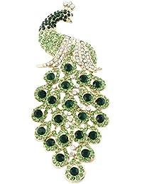 TENYE Austrian Crystal Elegant Animal Peacock Plume Pendant Brooch Gold-Tone