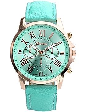 JSDDE Uhren,Damenmode Genf r?mischen Ziffern Analog Quarzuhr chrono Armbanduhr(T¨¹rkis)