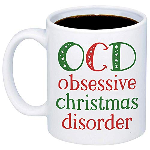 TK.DILIGARM Christmas Mugs - OCD Christmas - Funny Cute Jolly Festive 11oz Xmas Cup For Best Friend, Sister, Mom, Girlfriend, Santa Claus Lovers - Holidays Teacup