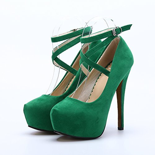 OCHENTA Scarpe Col Tacco Donna (Beige Unico) Verde