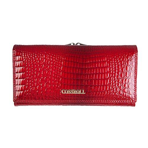 Handtasche Echtes Leder Damen Krokodil-Muster Weiche Brieftasche Womens Multi Color Flip Case Geldbörse Lange Kupplung Damen Hangbags,Red-OneSize (Krokodil-leder-brieftasche Echte)