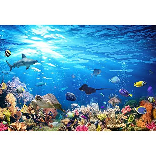 OERJU 1,5x1m Unterwasser Welt Hintergrund Korallenriff Tropischer Fisch Hai Schildkröte Unterwasser Hintergrund Party Poster Banner Dekorationen Geburtstag Hochzeit Porträt Fotografie Requisiten
