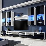 Namotu Hochglanz Wohnwand Anbauwand TV-Möbel Blaue LED-Lichter 8tlg. schwarz