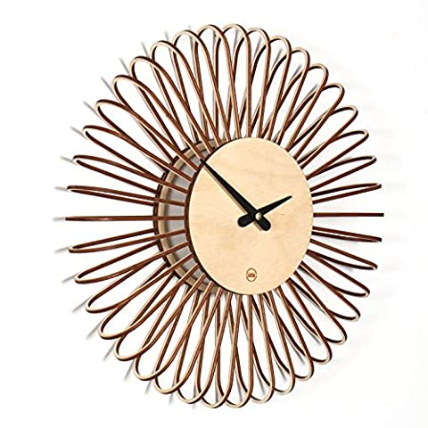 Circulo S Modern Design Wall Clock Made From Wood Completely Silent For Living Room, Kitchen, Bedroom, Hall, Office, natural birch