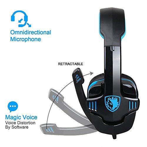 SADES SA-708GT 3.5mm Gaming Kopfhörer Mic Noise Cancellation Musik Headset Schwarz-blau Upgrade Version von SA-708 für PS4 XBOX 360 Tablet PC Handys - 4
