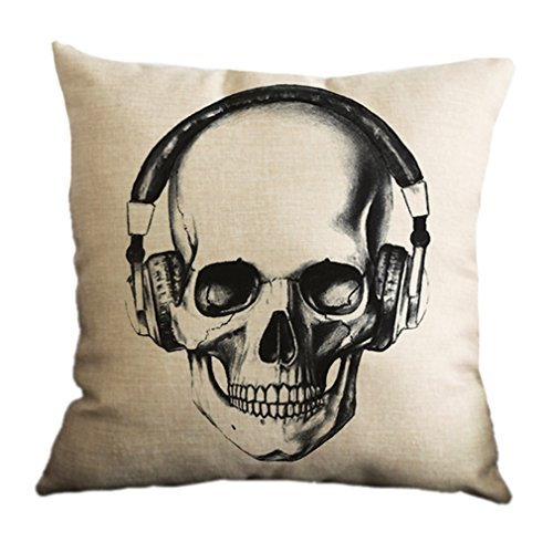 Nunubee Cotton Linen Cushion Cover 18X18 Pillowcase Throw Pillow Case Sofa Decoration Sugar Skull 10