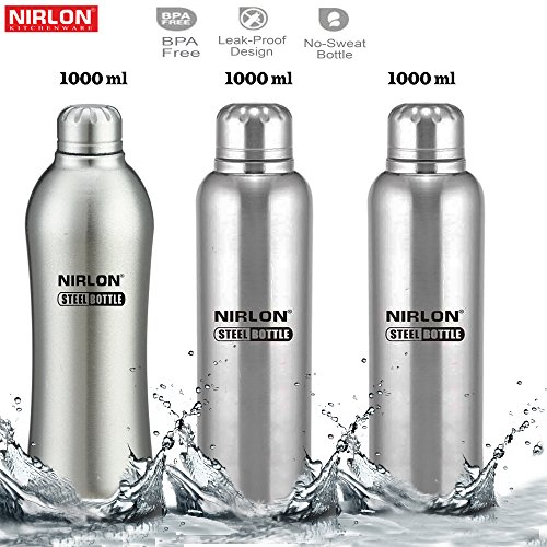 Nirlon Stainless Steel Single Wall Insualted Travel Water Bottle Set