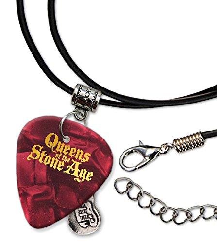 Queens Of The Stone Age Púa de Guitarra Collar de la Cuerda Necklace Red Pearl ( GHF )