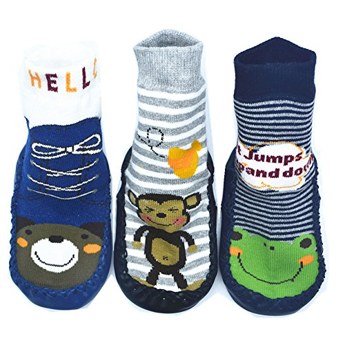 BOMPOW Baby Slipper Socken Kleinkind Kinder rutschfeste Bodensocken für 0-24 Monate Alt Baby 3 Pack