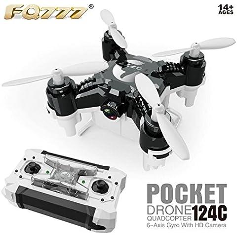 Fortan FQ777-124C Con 2.0MP 720P HD fotocamera Una chiave di ritorno RC Quadcopter rtf Mini Drone -- Nero