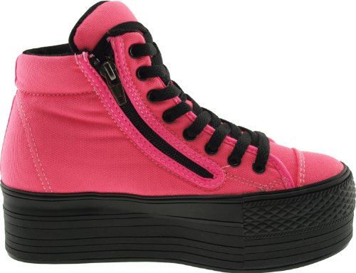 Maxstar  C50-Taller, Chaussons montants femme Rose - Rose fluo
