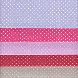 Textiles français Stoffpak tessuti - Puntini - Confezione di 5 pezze - blu, rosa, lavanda, rosso e grigio chiaro perlato | 100% puro cotone | 35 x 50 cm