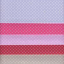 Textiles français Stoffpak bundle de telas - 5 telas: azul, rosa, lavanda, rojo y beige-gris - colección de telas 'Puntos' | 100% algodón | 35 x 50 cm