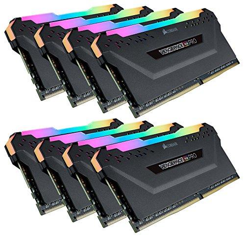 Corsair Vengeance RGB PRO 64 GB (8x8 GB) DDR4 3466MHz C18 XMP 2.0 Kit di Memoria Illuminato RGB LED Entusiasta, Nero