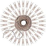 Demarkt 50X Colgando Con mini Clips de madera y 2 metros de cuerda de cáñamo tejida a mano etiqueta decorativa