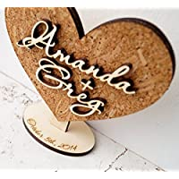 Rustic wedding heart decoration, personalized cake topper or wedding table decor, cork and wood cake topper