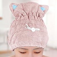 Toalla de baño de secado rápido para el cabello, toalla de pelo de secado rápido, toalla de baño para spa, natación, microfibra superabsorbente, gorro de ducha mágico, envolver dibujos animados en forma de oreja de gato rosa