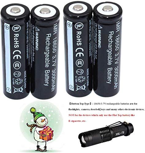 4-Pack1865O 3.7V Akku Li-ion Batterie + Zoomable 3 Modes LED-Taschenlampe Kit aa
