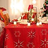 Deconovo Tischwäsche Tischdecke Weihnachten Lotuseffekt Tischtuch 130x220 cm Stern Sonne