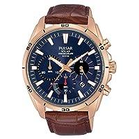 Pulsar heren chronograaf solar horloge met lederen armband PZ5062X1
