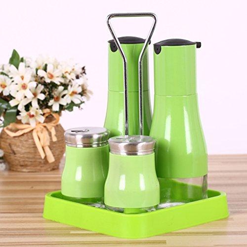GARDEN condimento bottiglie Vetro condimento condimento aceto bottiglia Olio di bottiglia salsa salsa di aceto Pepe Sale Pepe Bottiglia Box utensili da cucina (5 Assemblee) ( colore : Verde )
