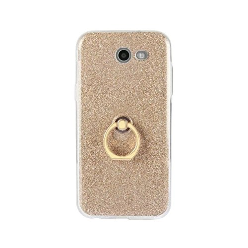 Luxus Bling Sparkle Style Case, Soft TPU [Silikon] Flexible Glitter Rückentasche mit Fingerring Stand [Anti Scratch] [Shockproof] für Samsung Galaxy J5 2017 (J520) ( Color : Black ) Gold