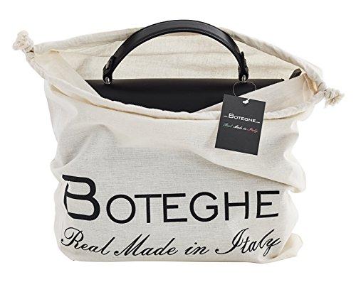 FRANCA Handtasche Italienisch Tasche Henkeltaschen Echtes Leder Made in Italy Schwarz