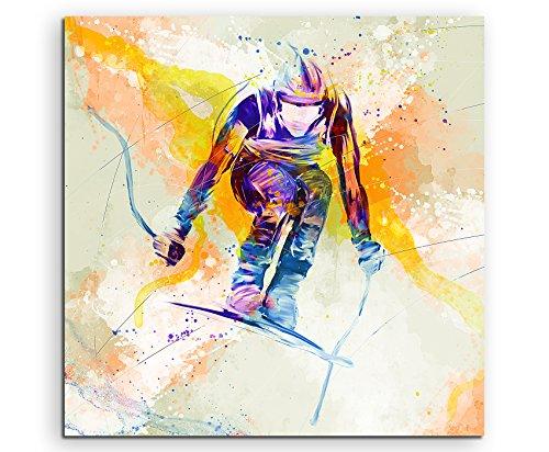 Ski Alpin II 60x60cm Wandbild SPORTBILD Aquarell Art tolle Farben von Paul Sinus