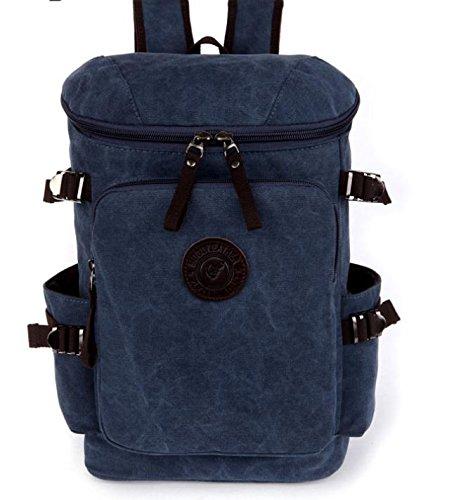 &ZHOU Borsa di tela, Zaino zaino colore puro grande capacità multi-purpose borsa tempo libero Zaini scolastici della tela di canapa , deep blue deep blue