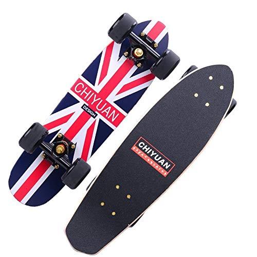 YIJIAN-SCOOTERS Solide und verschleißfest Skateboards Maple Skateboard Vierrädrige Scooter for Erwachsene Skateboard Profi Durable Scooter 16 * 58cm (Color : Union Jack)