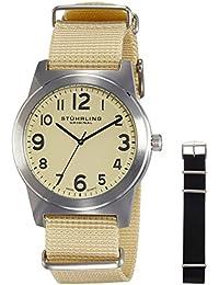Stührling Original Man - Reloj de cuarzo, para hombre, con correa textil, color crema