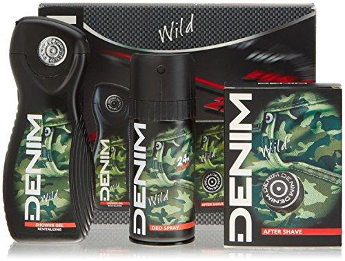 Demin Wild confezione composta da bagnoschiuma gel dopobarba e deodorante