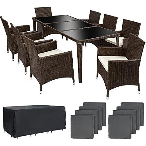 TecTake Conjunto muebles de jardín en aluminio y poly ratan 8+1 antiguo marrón con set de fundas intercambiables