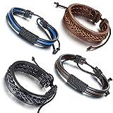 Aroncent 4PCS Retro Armband Verstellbar Wickelarmband Geflochtenes Lederarmband Leder Armreif für Damen und Herren, Schwarz Blau Braun