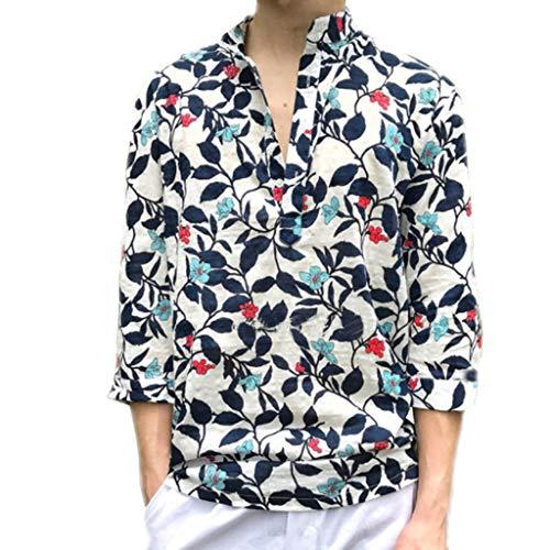 AIni Herren T-Shirts Mode Beiläufig Sommer Trend Drucken Farbe Halbarm Hemd Bluse Abend Hochzeit Festlich Strand Partykleid T-Shirts (XL,Weiß)