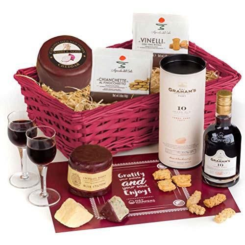 Hay Hampers Port, Stilton & Cheddar Cheese Christmas Gift Basket - Free UK Delivery
