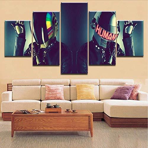 Wuwenw Bestbewertet 5 Panels Hd Druck Leinwand Malerei 5 Stücke Daft Punk Stil Musik Typ Poster Für Moderne Dekor Wohnzimmer Rahmen, 12X16 / 24/32 Zoll, Ohne Rahmen (Daft Punk-aufkleber)